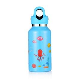 美國第二代無螺紋秒開式兒童保溫保冷瓶355ml- 天空藍